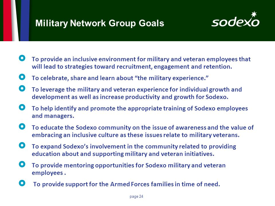 Military Network Group Goals