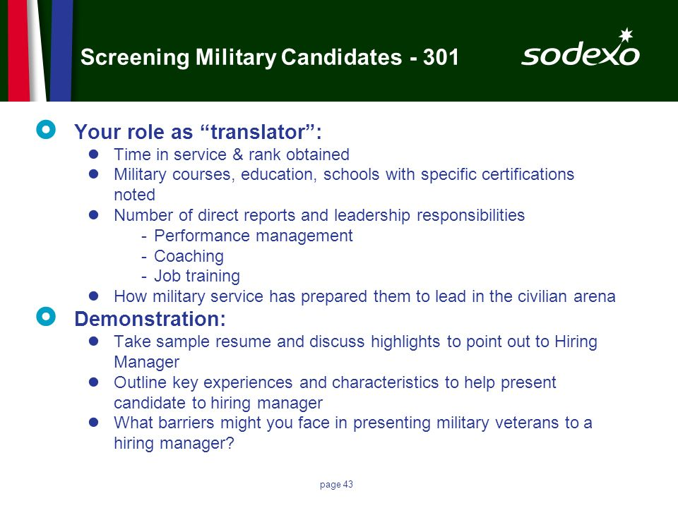 Screening Military Candidates - 301