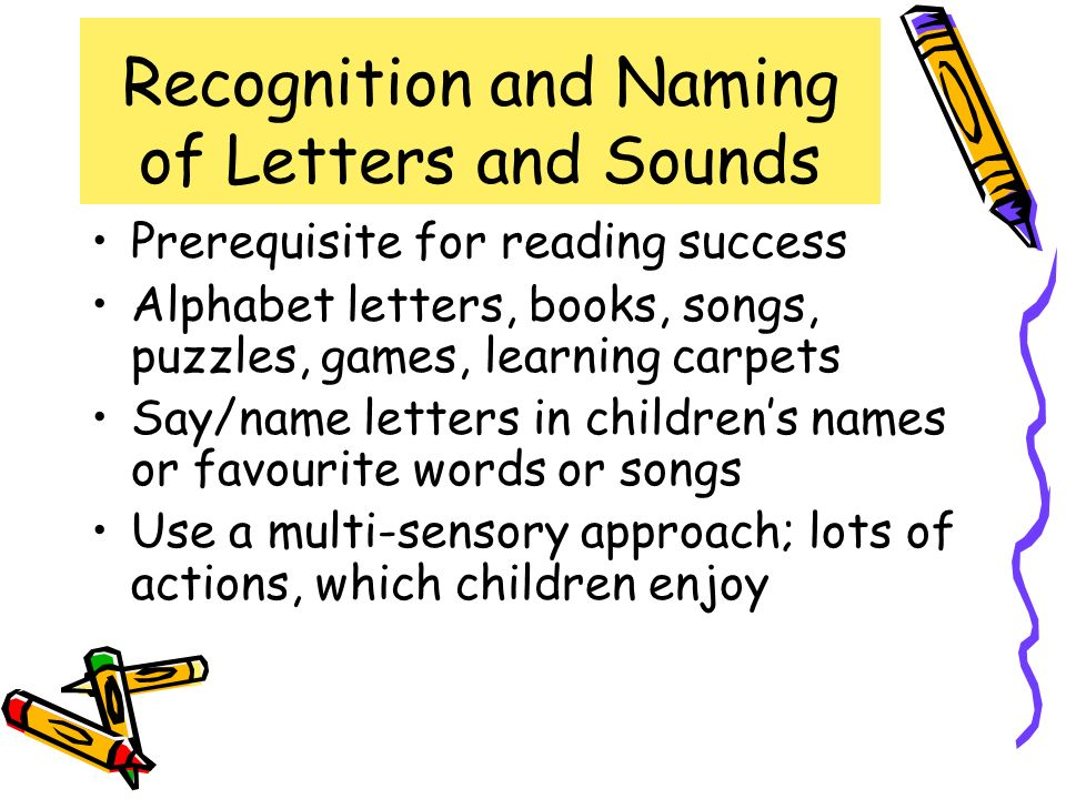 Recognition and Naming of Letters and Sounds