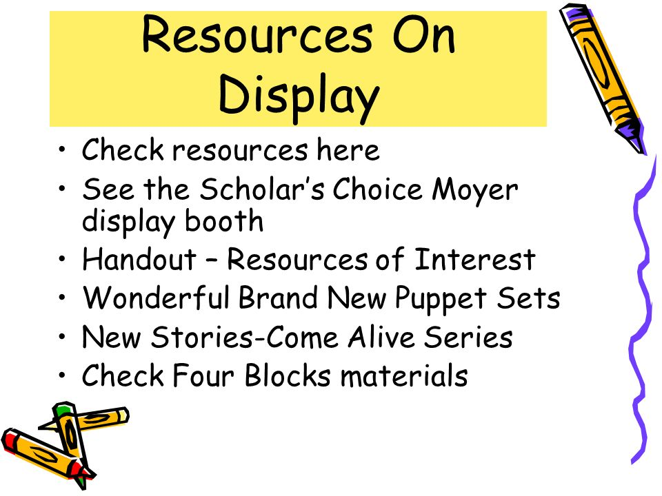 Resources On Display Check resources here
