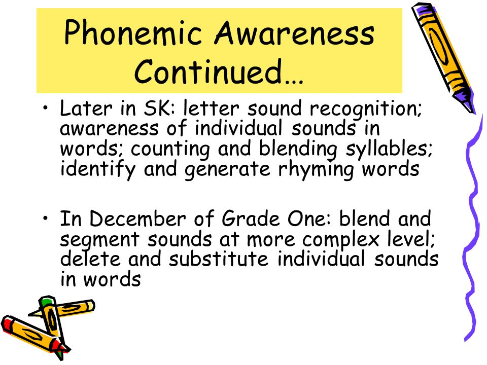 Phonemic Awareness Continued…