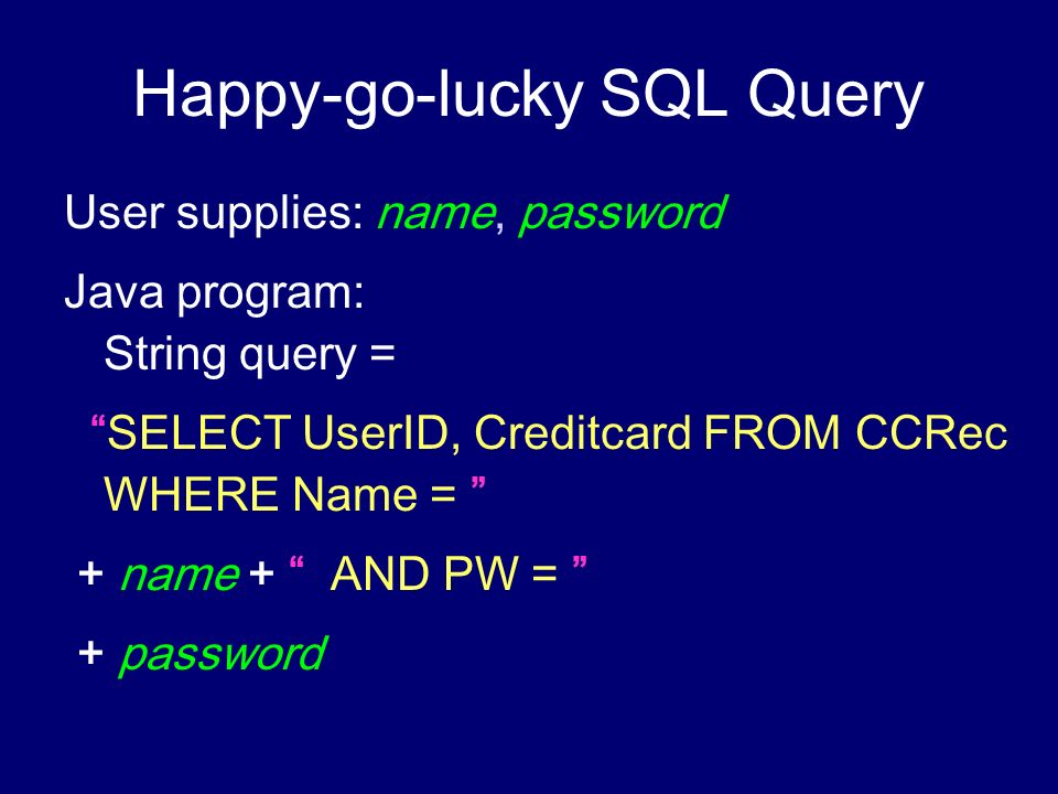 Happy-go-lucky SQL Query