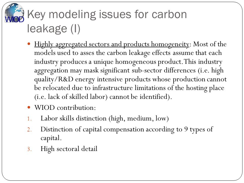 Key modeling issues for carbon leakage (I)