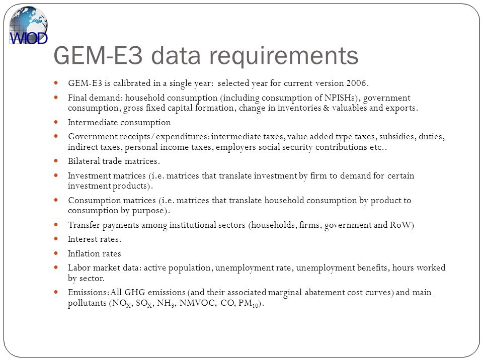 GEM-E3 data requirements