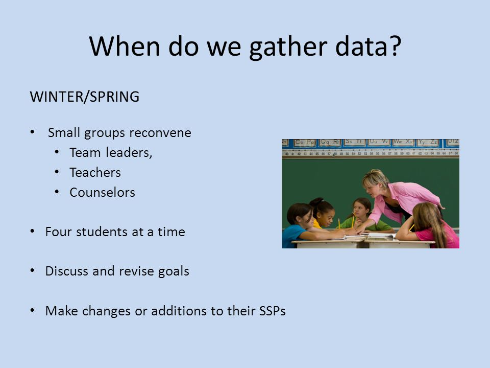 When do we gather data WINTER/SPRING Small groups reconvene