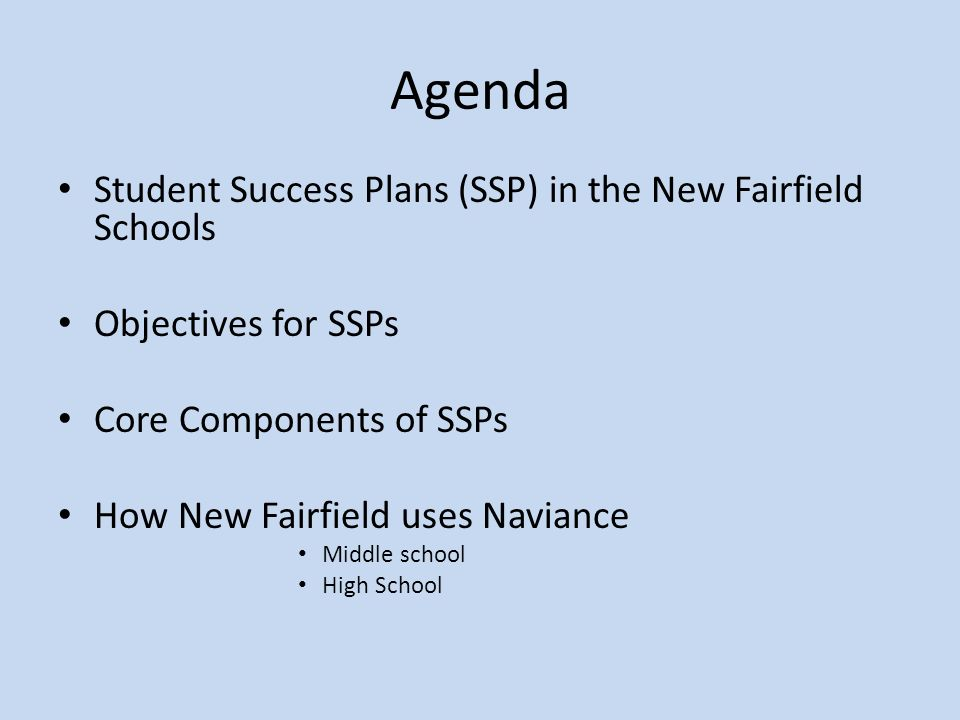 Agenda Student Success Plans (SSP) in the New Fairfield Schools