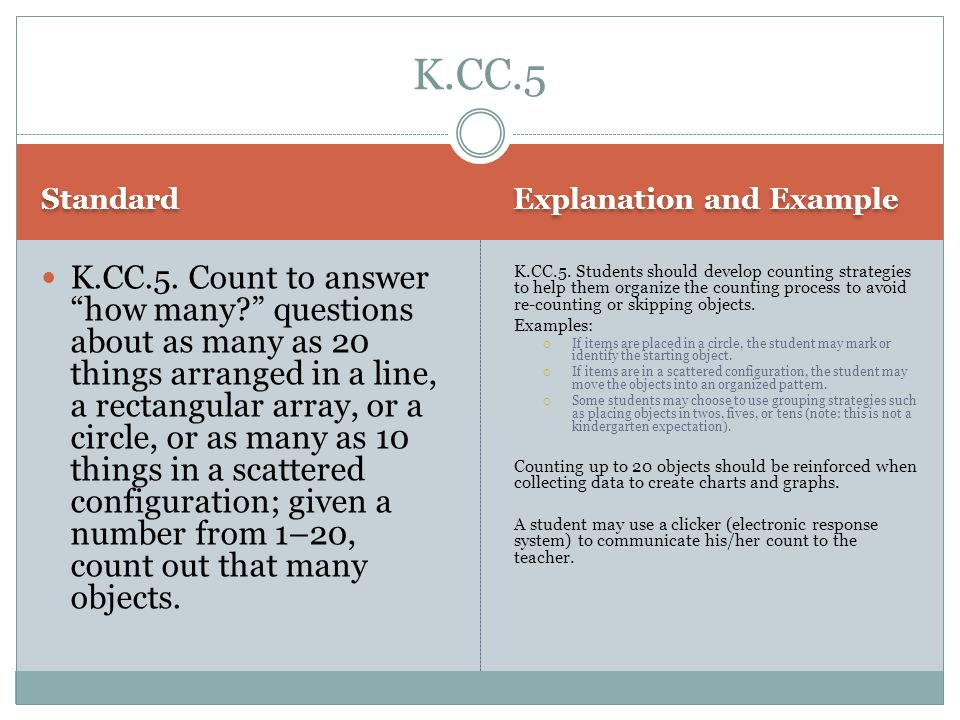 K.CC.5 Standard. Explanation and Example.