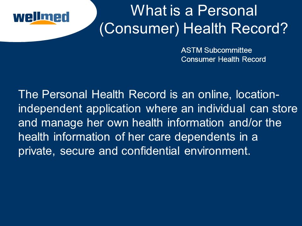 What is a Personal (Consumer) Health Record