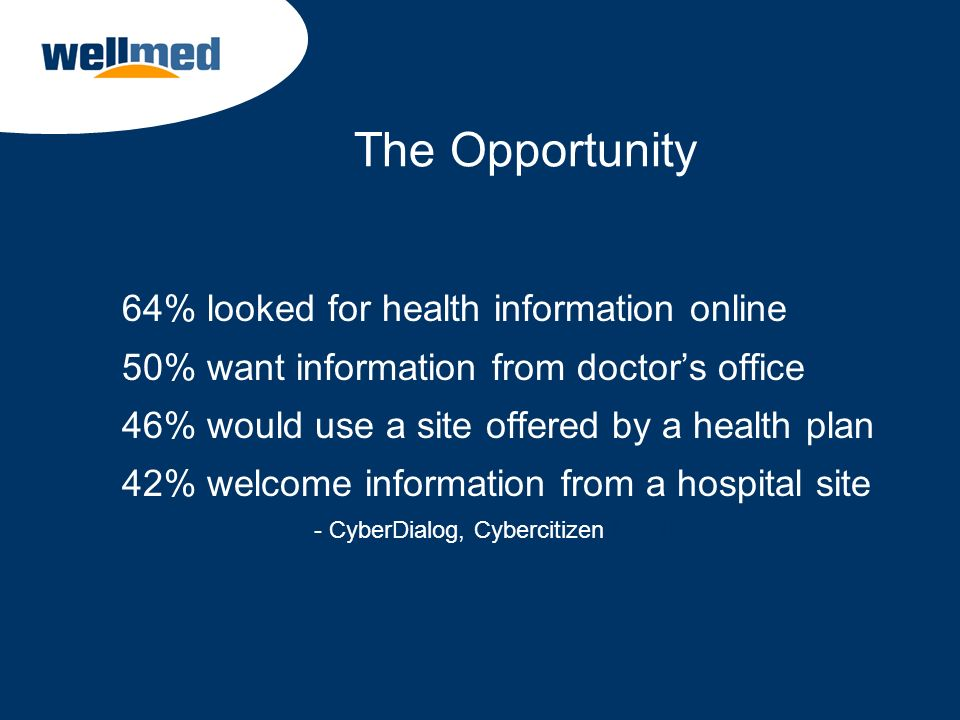 The Opportunity 64% looked for health information online