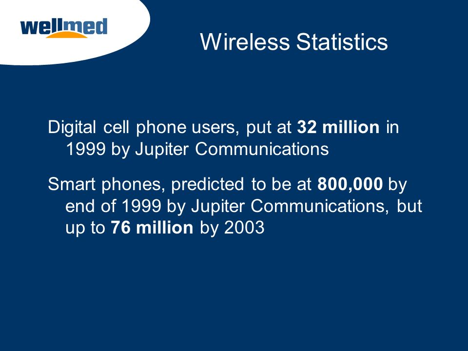 Wireless Statistics Digital cell phone users, put at 32 million in 1999 by Jupiter Communications.