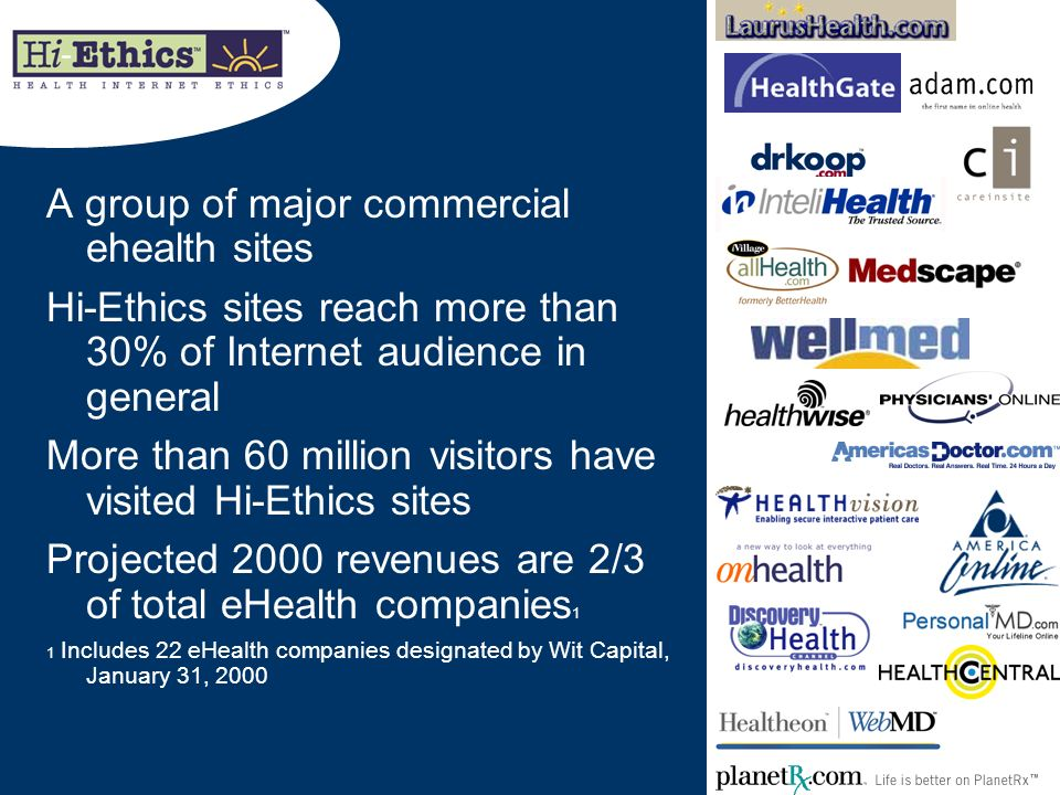 A group of major commercial ehealth sites