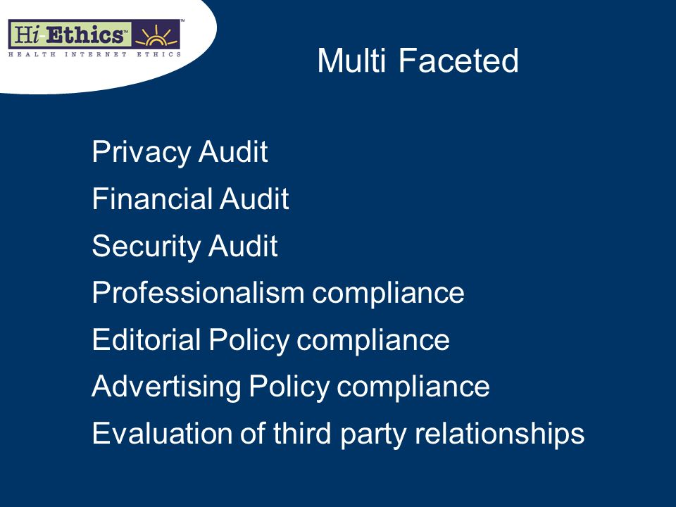 Multi Faceted Privacy Audit Financial Audit Security Audit
