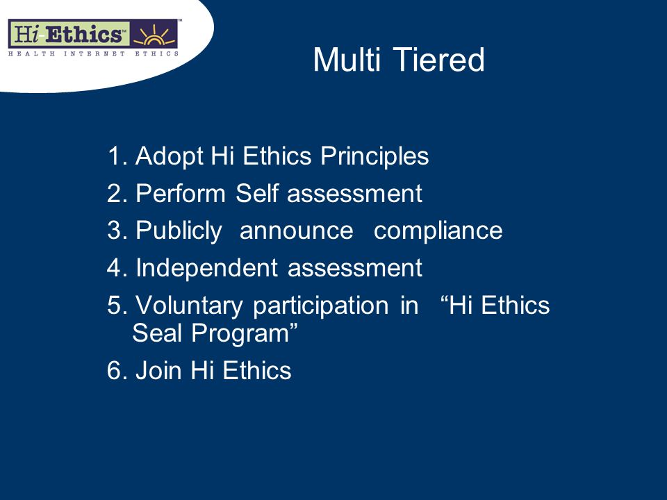 Multi Tiered 1. Adopt Hi Ethics Principles 2. Perform Self assessment