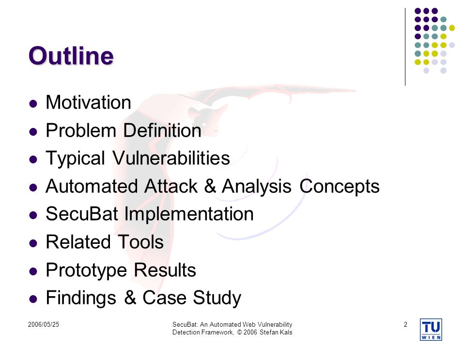 Outline Motivation Problem Definition Typical Vulnerabilities
