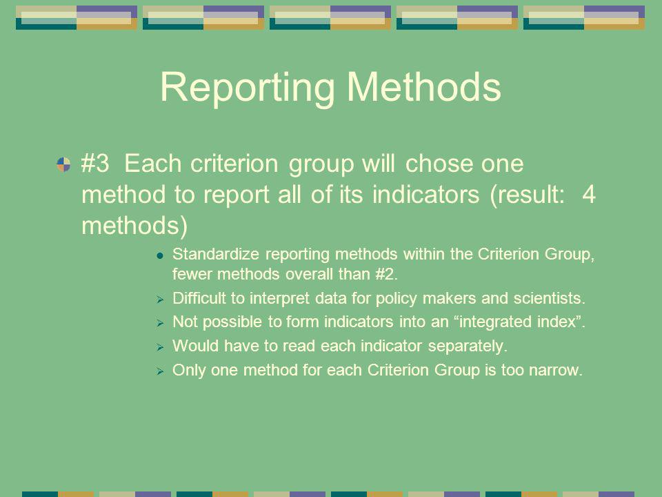 Reporting Methods #3 Each criterion group will chose one method to report all of its indicators (result: 4 methods)