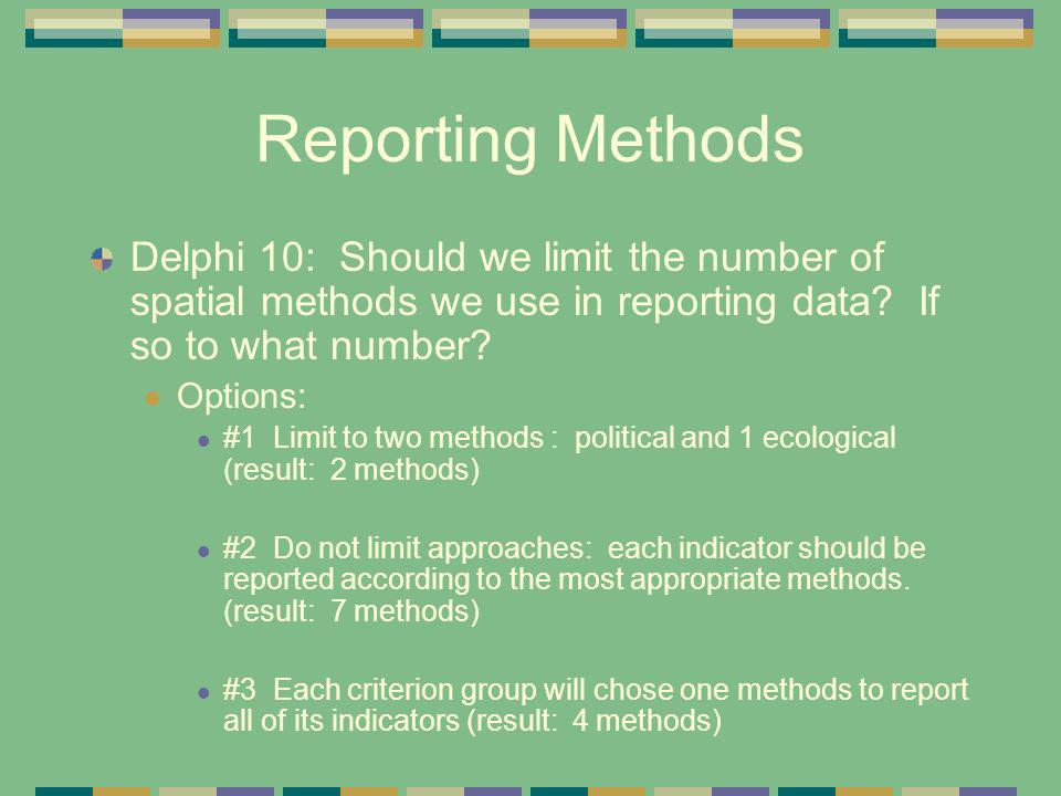 Reporting Methods Delphi 10: Should we limit the number of spatial methods we use in reporting data If so to what number