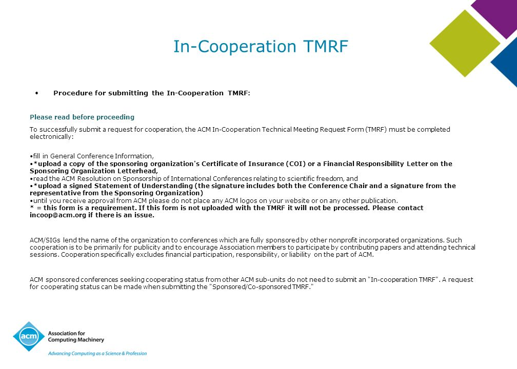 In-Cooperation TMRF Procedure for submitting the In-Cooperation TMRF: