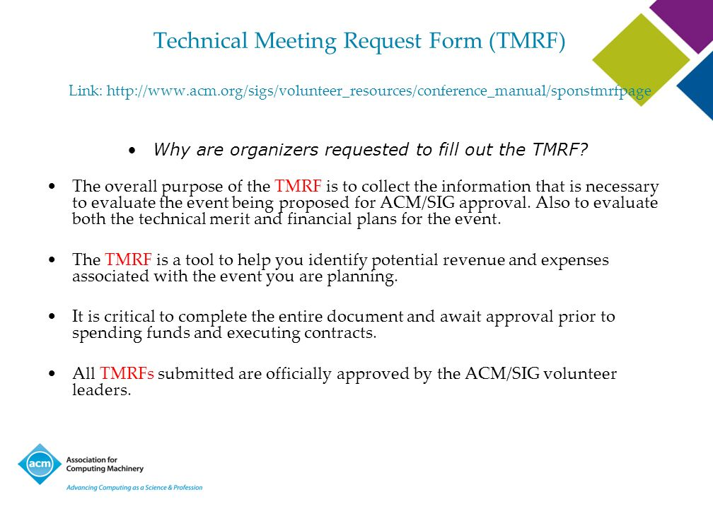 Why are organizers requested to fill out the TMRF