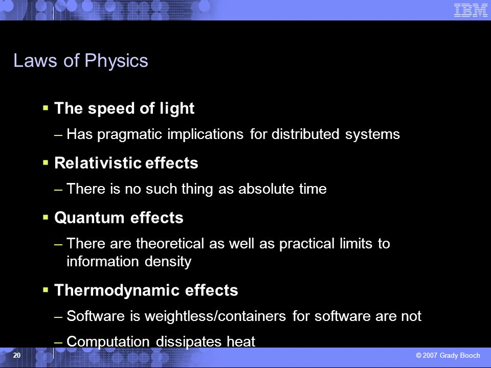 Laws of Physics The speed of light Relativistic effects