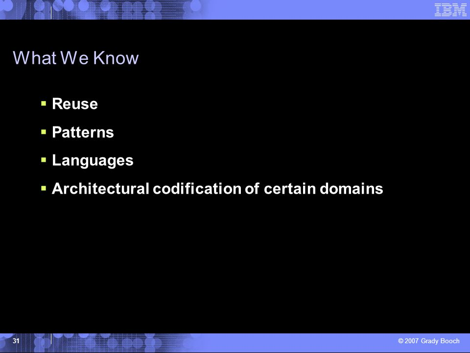 What We Know Reuse Patterns Languages