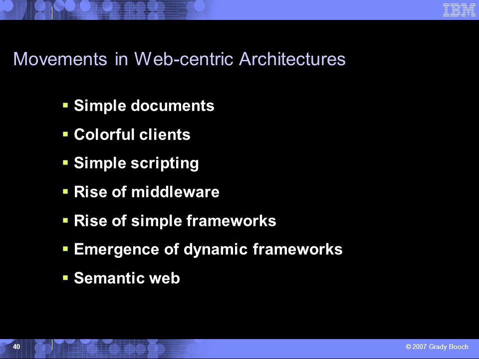 Movements in Web-centric Architectures