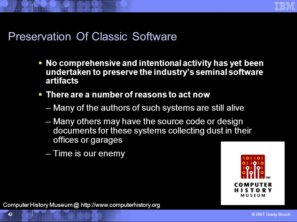 Preservation Of Classic Software