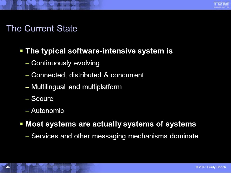 The Current State The typical software-intensive system is