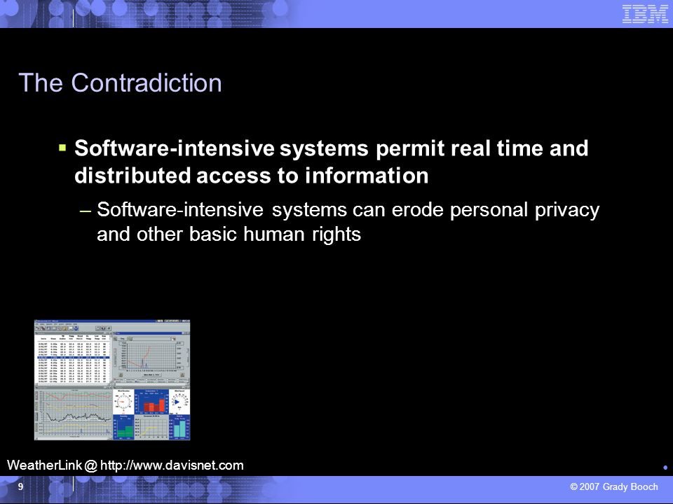 The Contradiction Software-intensive systems permit real time and distributed access to information.