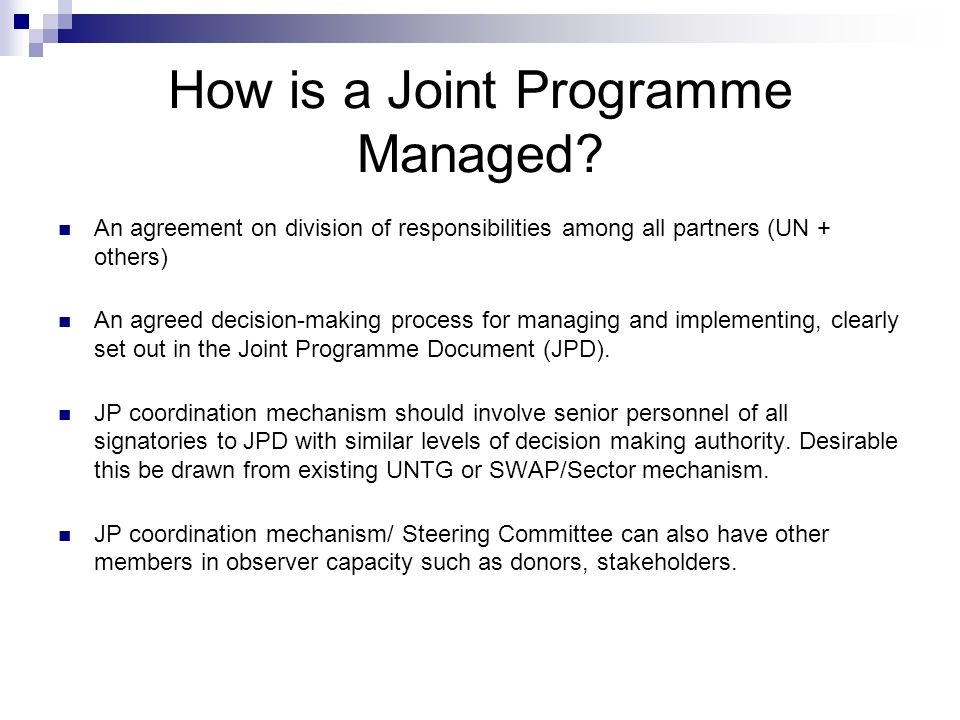 How is a Joint Programme Managed