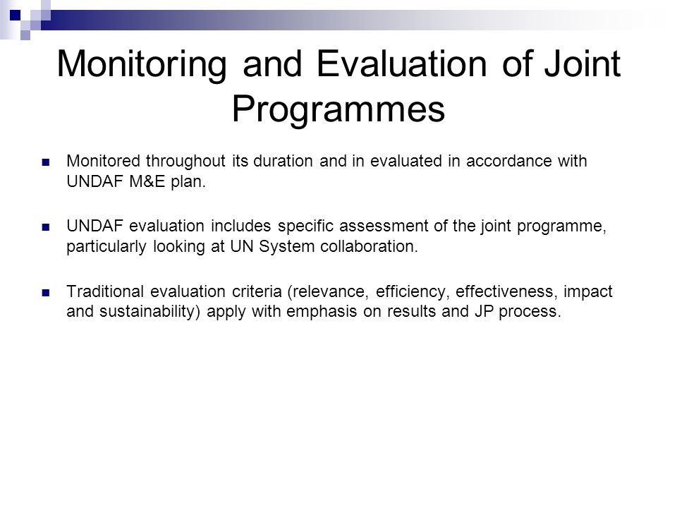 Monitoring and Evaluation of Joint Programmes