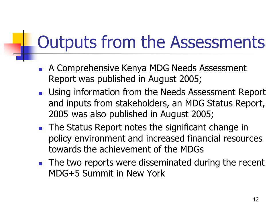Outputs from the Assessments
