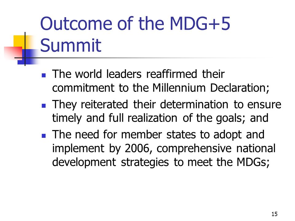 Outcome of the MDG+5 Summit