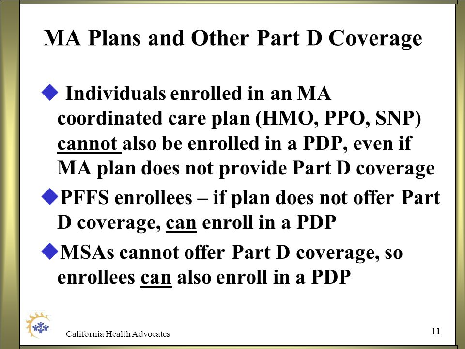 MA Plans and Other Part D Coverage