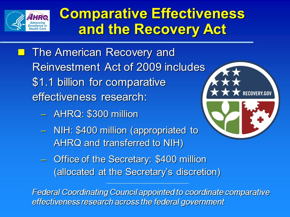 Comparative Effectiveness and the Recovery Act