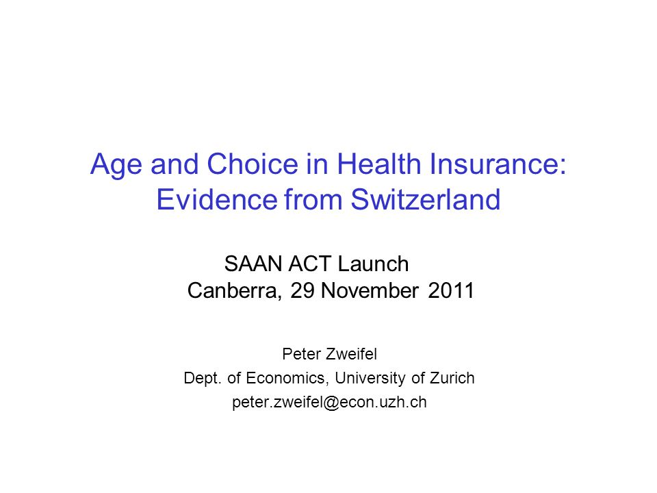 Age and Choice in Health Insurance: Evidence from Switzerland