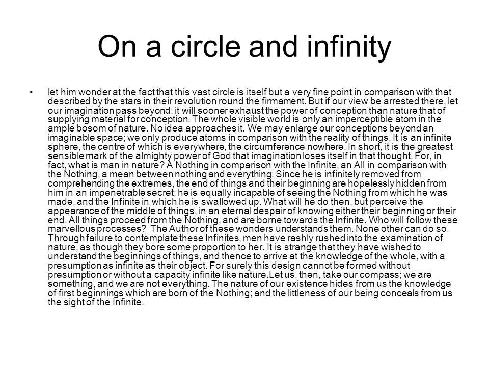 On a circle and infinity