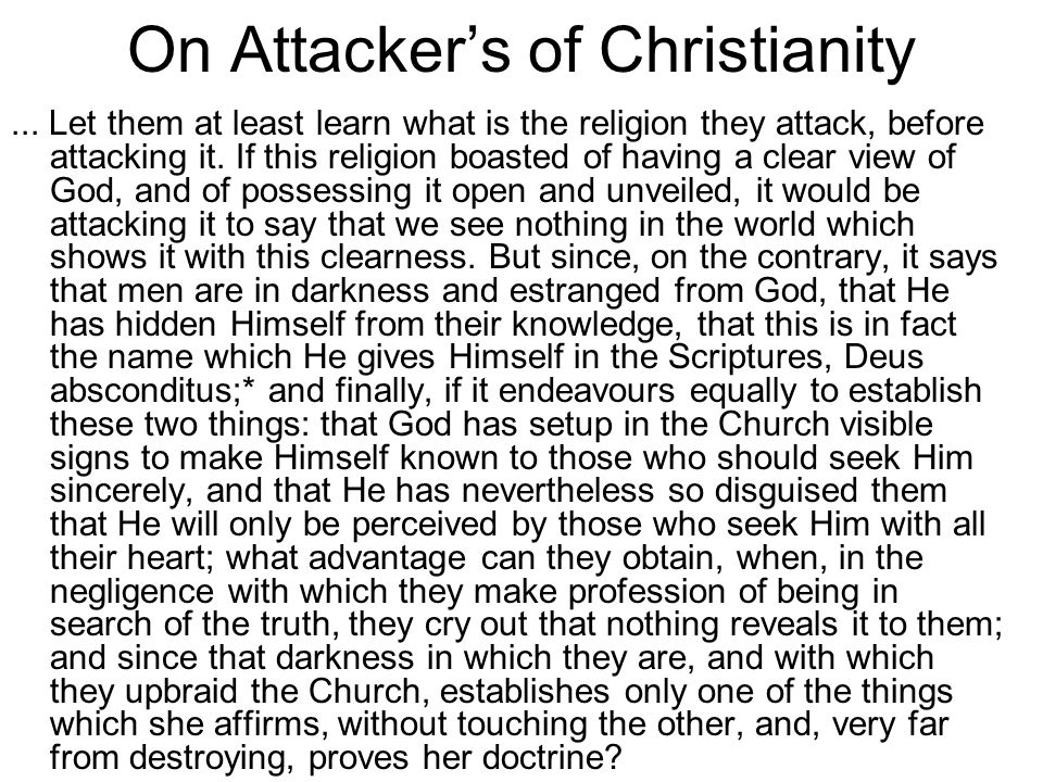 On Attacker's of Christianity