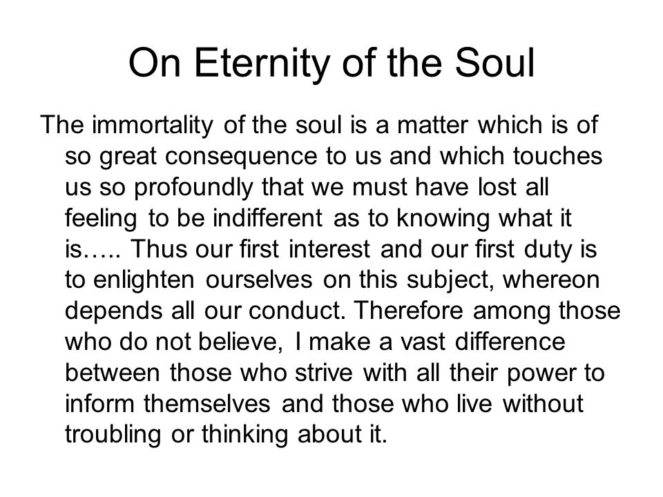 On Eternity of the Soul