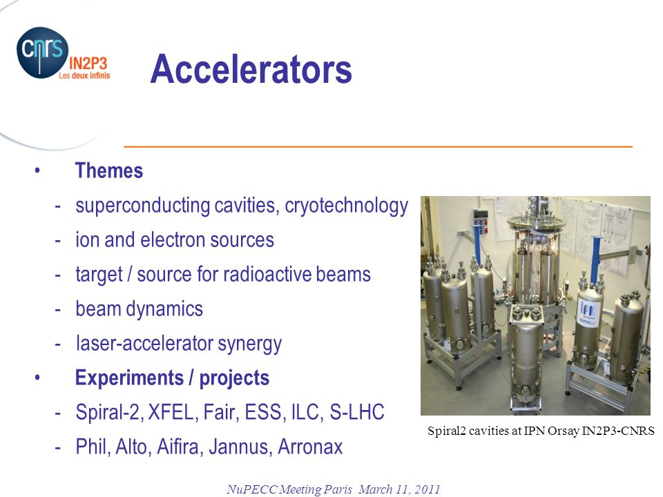 Accelerators Themes - superconducting cavities, cryotechnology