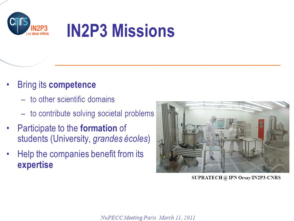 IN2P3 Missions Bring its competence