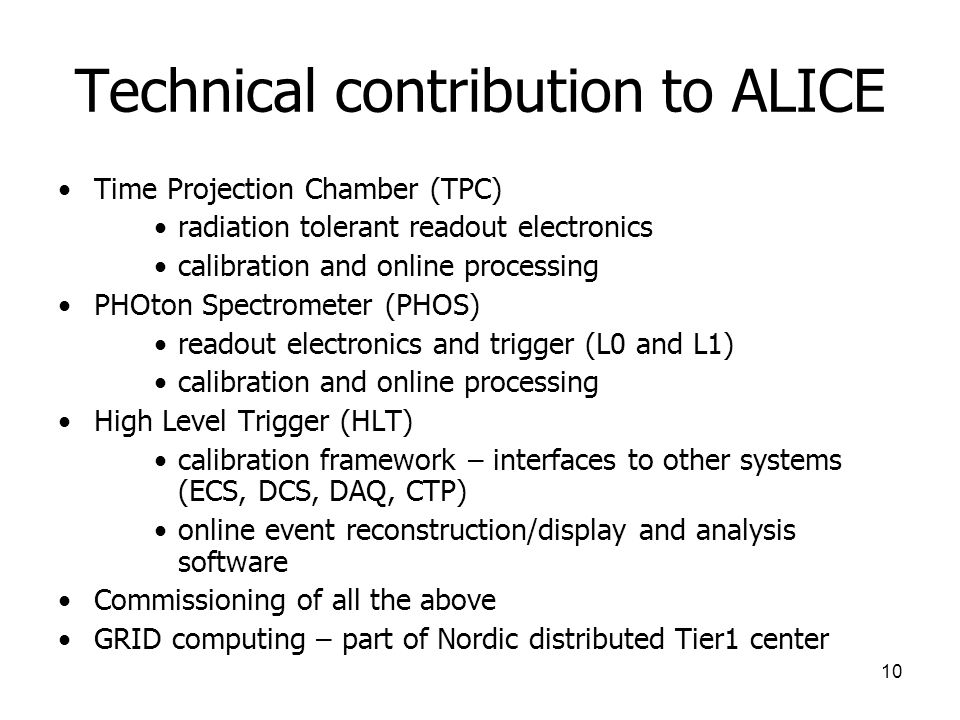 Technical contribution to ALICE