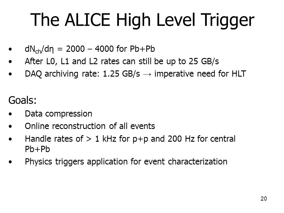 The ALICE High Level Trigger