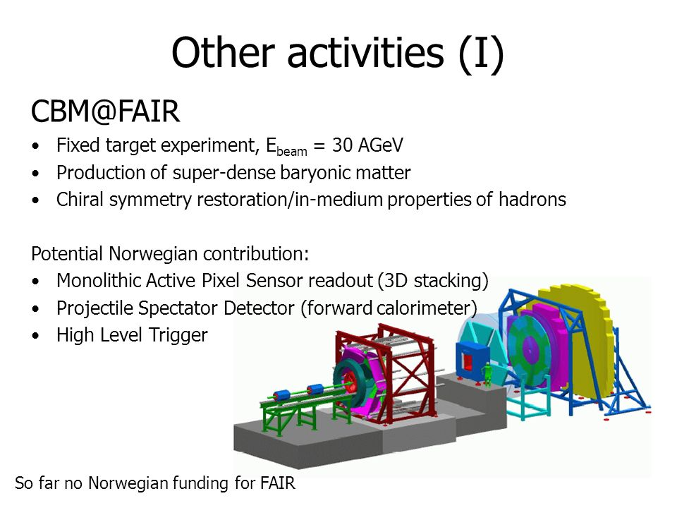 Other activities (I) CBM@FAIR Fixed target experiment, Ebeam = 30 AGeV