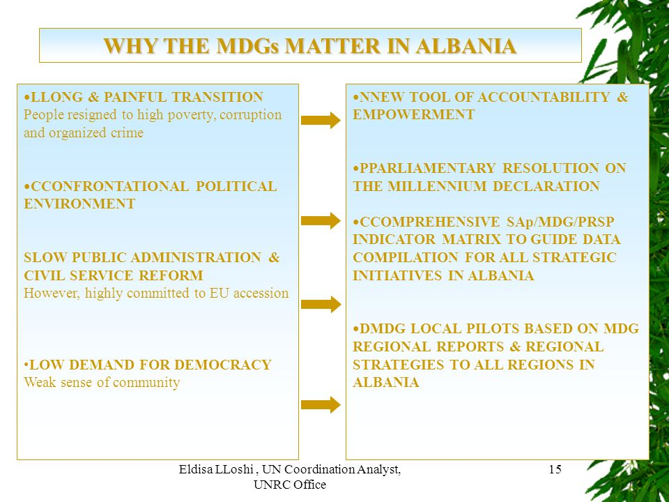 WHY THE MDGs MATTER IN ALBANIA