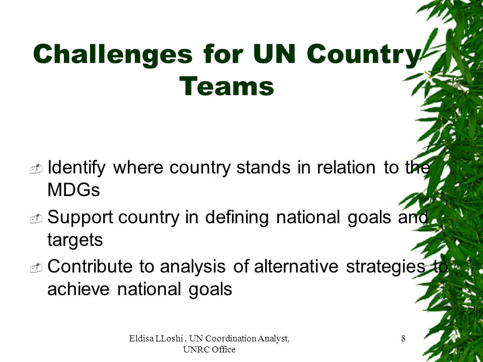 Challenges for UN Country Teams