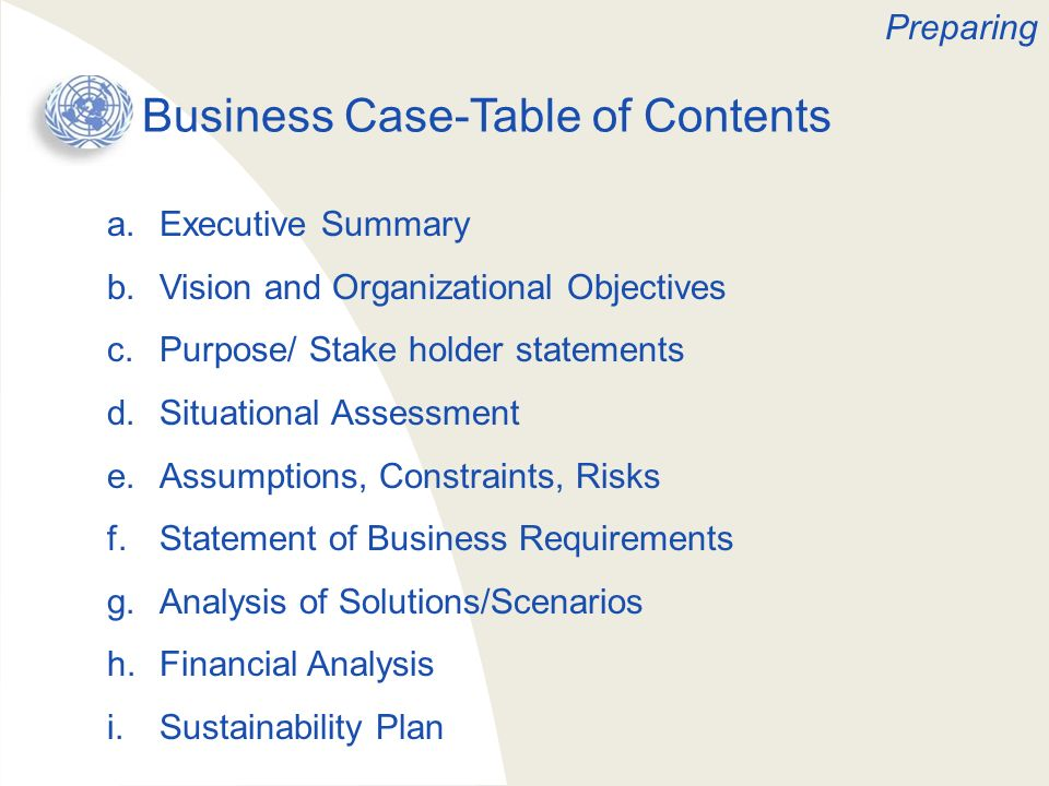 Business Case-Table of Contents