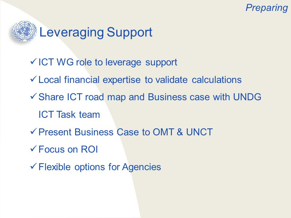 Leveraging Support Preparing ICT WG role to leverage support