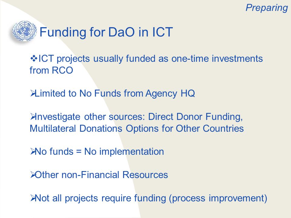 Funding for DaO in ICT Preparing