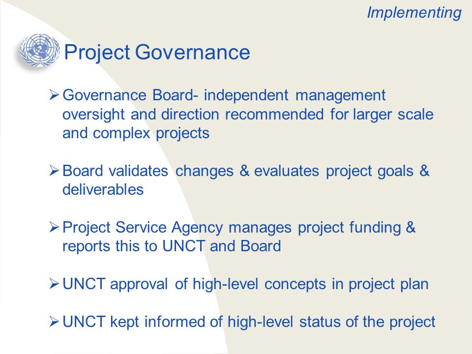 Project Governance Implementing