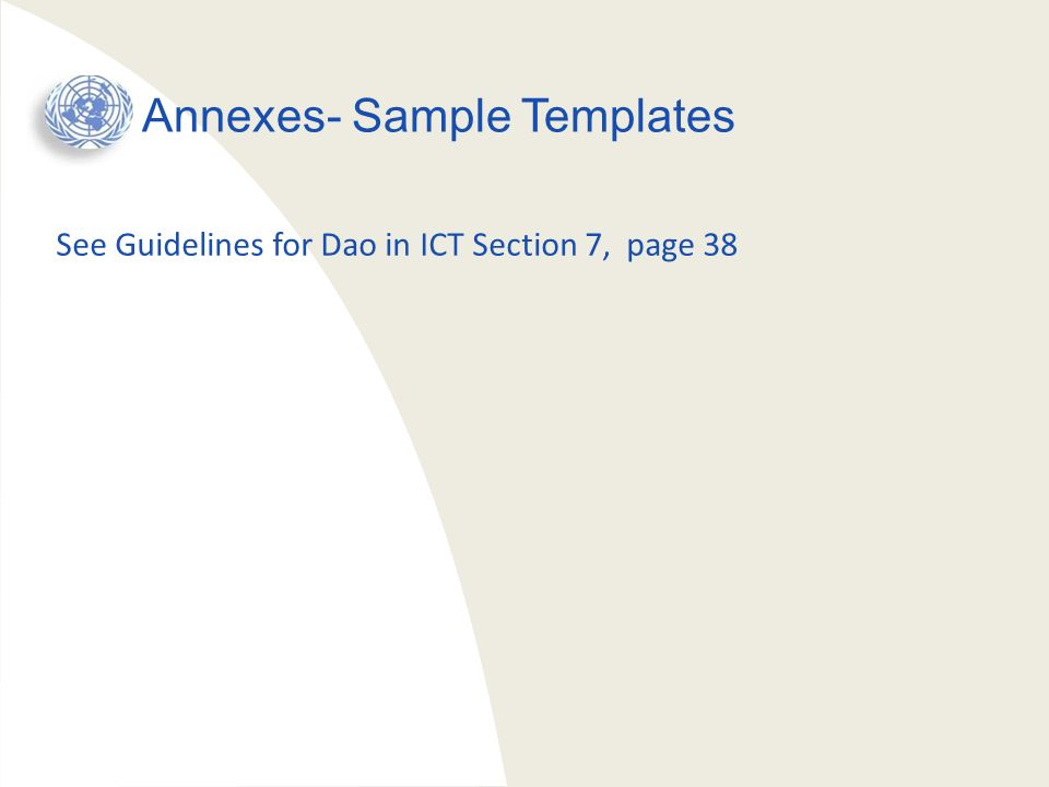 Annexes- Sample Templates